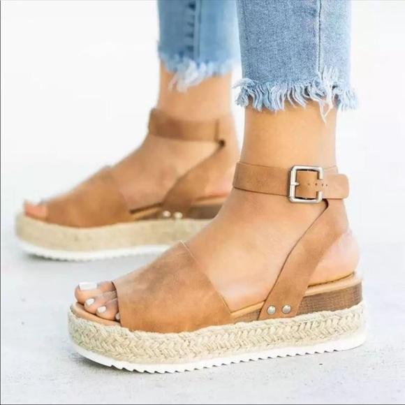 39ff4a1bfefc Tan Espadrille Flatform Sandals ♥️